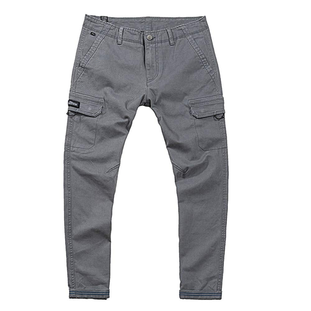 Alalaso Cargo Pants for Men, Men's Pure Color Multi Pocket Casual Outdoor Trouser Overalls Pant Gray