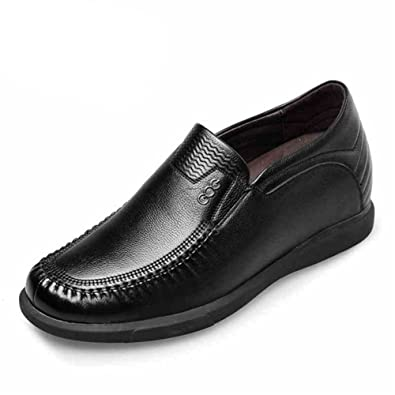Men's Elevator Shoes Black Leather Height Increasing Slip on Loafers