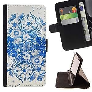 For Samsung Galaxy S3 III i9300 i747 Case , Tinta azul Flores de China- la tarjeta de Crédito Slots PU Funda de cuero Monedero caso cubierta de piel