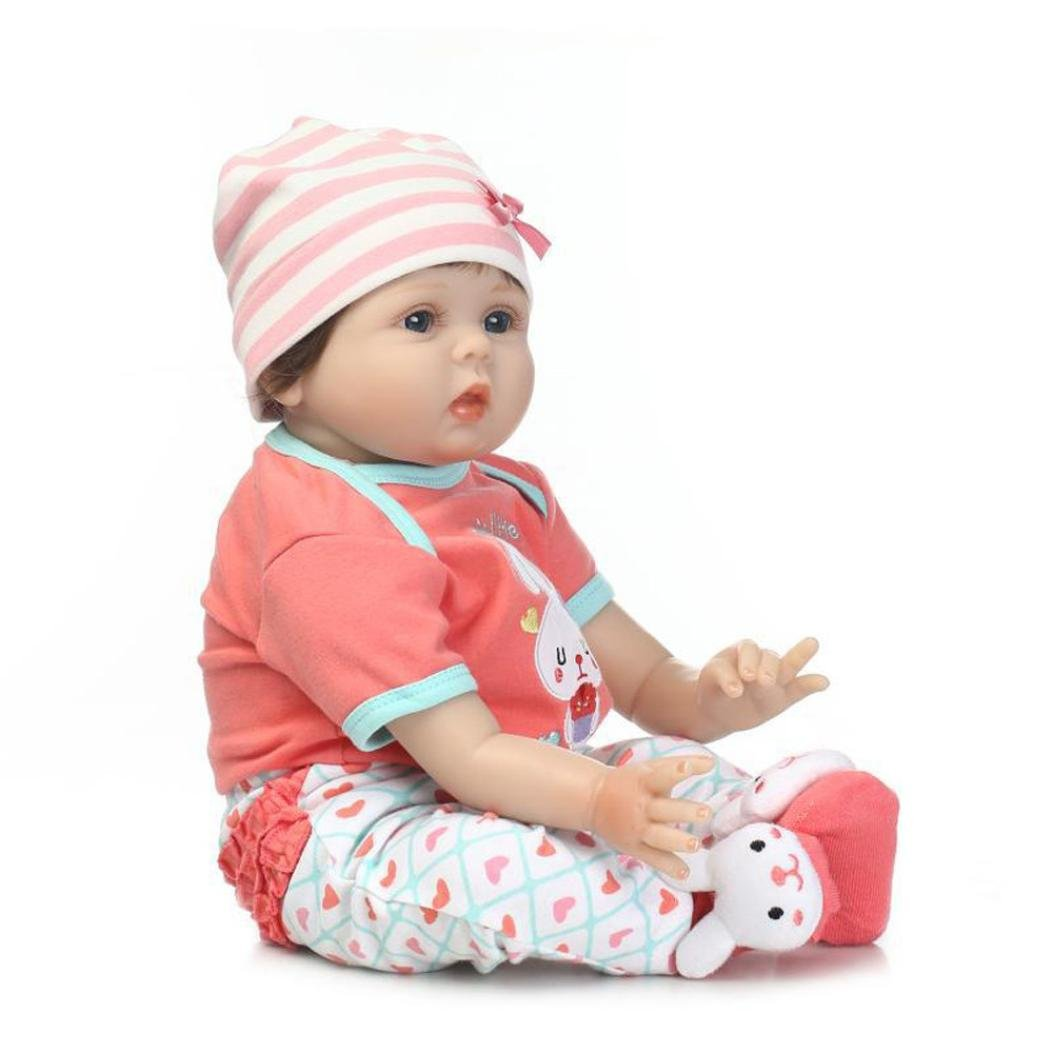 Dirance 22'' Lifelike Reborn Doll Soft Silicone Full Body Adorable Realistic Girl Playmate Doll Vinyl Reallike Handmade Newborn Baby Doll Outfits, Kids Gift for Ages 3+ (B) by Dirance (Image #4)