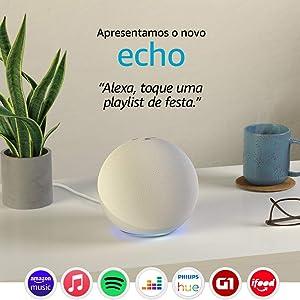 Novo Echo (4ª Geração): Com som premium, hub de casa inteligente e Alexa - Cor Branca
