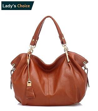 0bbcefce19 Women s Genuine Leather Tote Shoulder Bag Girls Ladies CrossBody Totes  Handbags (Brown)
