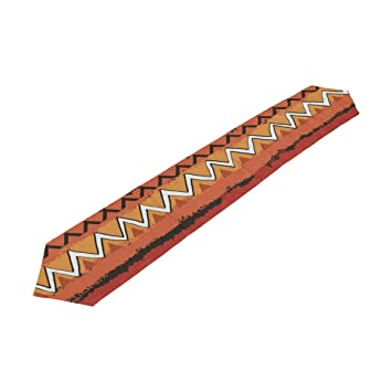 Bolaz African Chevron Pattern Double Sided Polyester Table Runner 13 X 70  Inches Long Green