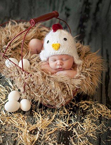 Cute bebé recién nacido Gorro de punto hecho a mano Gallo estilo sombrero  ropa de bebé 73e30ddab98