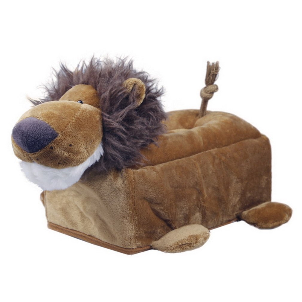 Bigood Animal Design Plush Napkin Tissue Box Case Holder Cover Dark brown lion