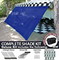 RV Awning Shade Motorhome Patio Sun Screen Complete Deluxe Kit (Blue)