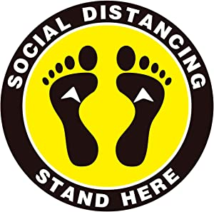 Ksamor Social Distancing Floor Decals 10 Pack- Stand Here Floor Sign Markers Waterproof 6 Feet Apart Floor Stickers for Crowd Control, Pharmacy, Large Bank, Supermarket, Library, Stores, Schools