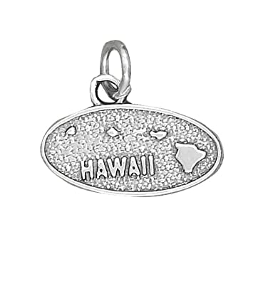 Amazon Com Sterling Silver Island State Of Hawaii Map Charm Jewelry