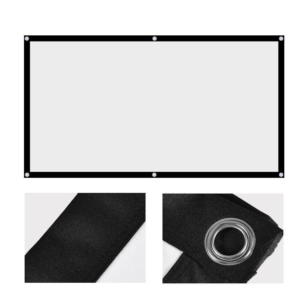 72 84 100  120  Pulgada Pantalla del proyector 16 120in 60 9 Pantalla de proyecci/ón plegable HD 4K port/átil con bordes negros y orificios para colgar Adecuado para el hogar