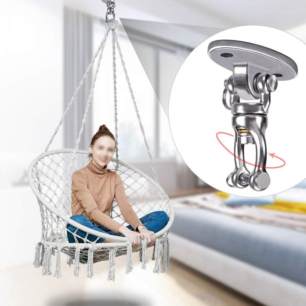 BeneLabel Set of 2 Permanent Antirust Stainless Steel Heavy Duty Swing Hanger with 2 Bearing Yoga Hammock Chair Sandbag Swing Sets 4 Screws for Wooden 800 LB Capacity 360/° Swing