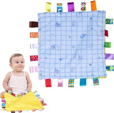 Bonbon bleu Couverture confortable pour b/éb/é avec couverture de s/écurit/é /Étiquettes-douillette Soft Touch Couverture de dentition Taggies-Grand cadeau pour b/éb/é tout-petit