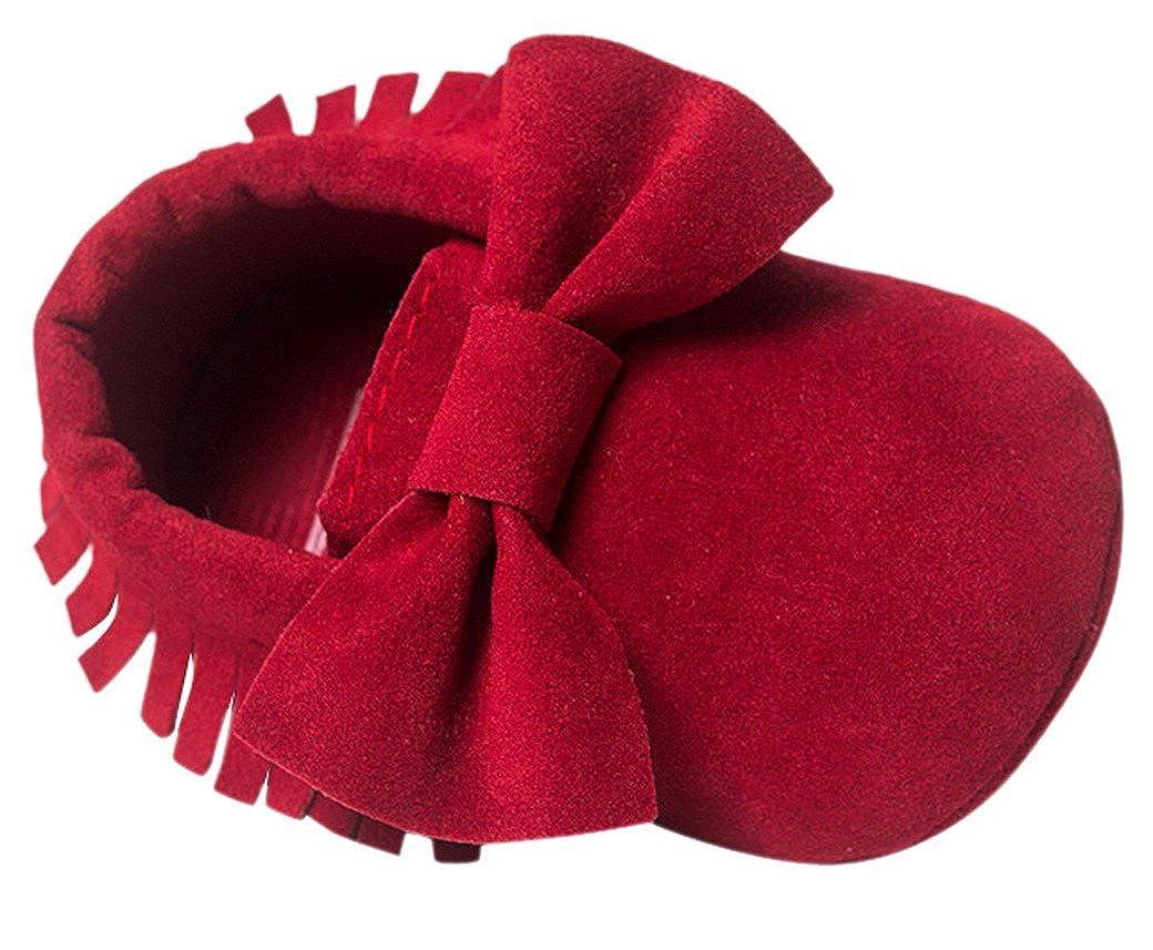 464ef16140def Happy Cherry Chaussures Bébé Fille Garçon Nubuck Princesse en Cuir  Artificiel Slip-on Nœud Papillons
