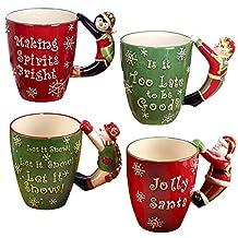 "Certified International 23531 ""Santa, Snowman, Elf and Penguin"" 3D Handle Mugs (Set of 4), Multicolor"
