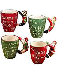 "Certified International ""Santa, Snowman, Elf & Penguin"" 3D Handle Mugs (Set of 4), Multicolor"