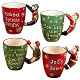 "Certified International""Santa, Snowman, Elf & Penguin"" 3D Handle Mugs (Set of 4), Multicolor"