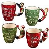 Certified International ''Santa, Snowman, Elf & Penguin'' 3D Handle Mugs (Set of 4), Multicolor