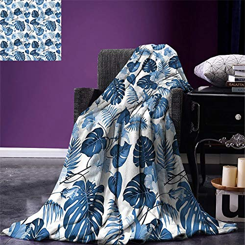VAMIX Leaf Digital Printing Blanket Palm and Mango Tree Branch and Hawaiian Hibiscus Flower Image Summer Quilt Comforter Light Blue Turquoise and Dark Blue, Blanket ()