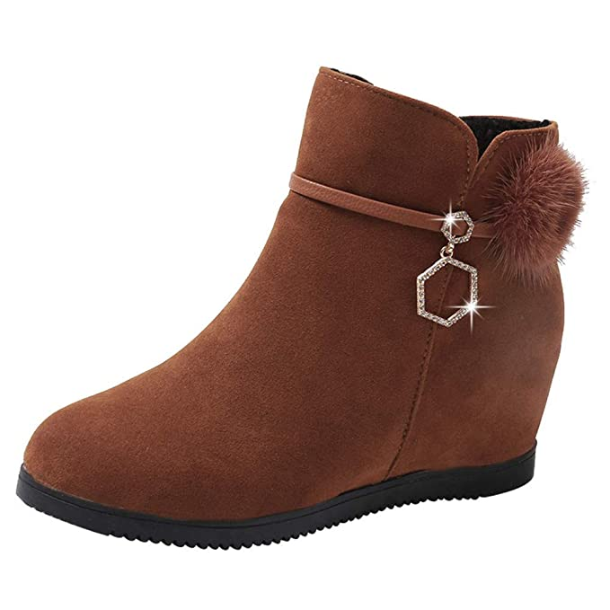 Amazon.com: Dressin Women Suede Hairball Boot,Round Toe Wedges Booties Pure Color Zipper Boots: Clothing