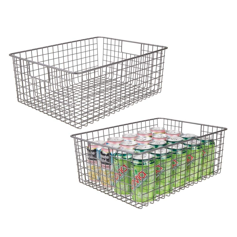 mDesign Farmhouse Decor Metal Wire Food Organizer Storage Bin Baskets with Handles for Kitchen Cabinets, Pantry, Bathroom, Laundry Room, Closets, Garage - 2 Pack - Graphite Gray