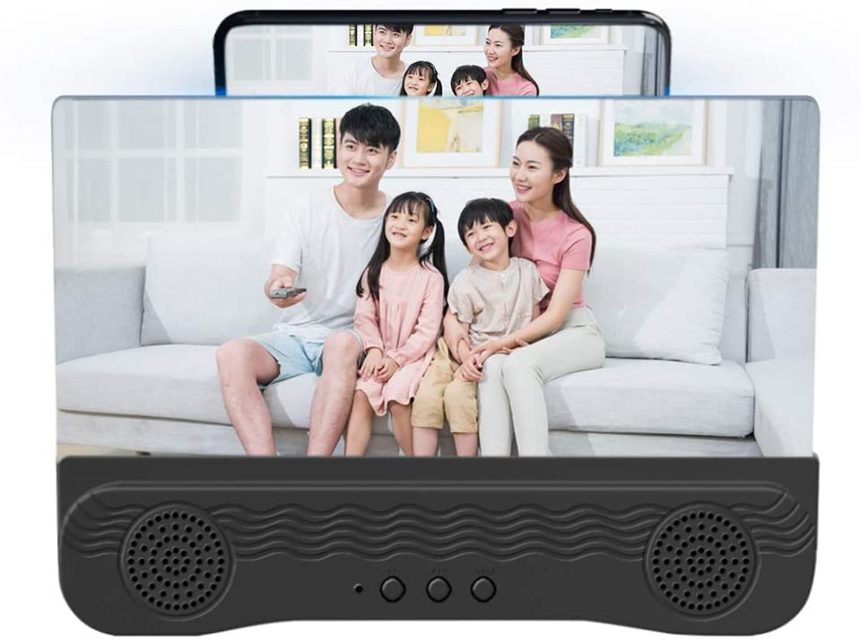 XHXseller Cell Phone Projector Amplifier with Bluetooth Speaker,Phone Screen Enlarger for Cell Phone HD Screen Amplifier,Folding Screen Magnifier for Movies,Videos,Gaming,12 Inch