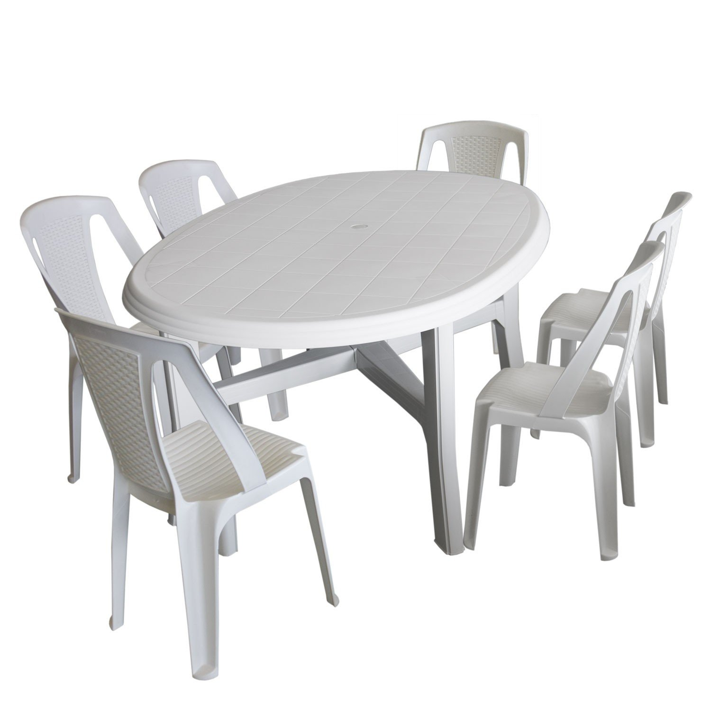 7tlg. Gartenmöbel Set Kunststoff Weiß - Gartentisch, Kunststoff ...