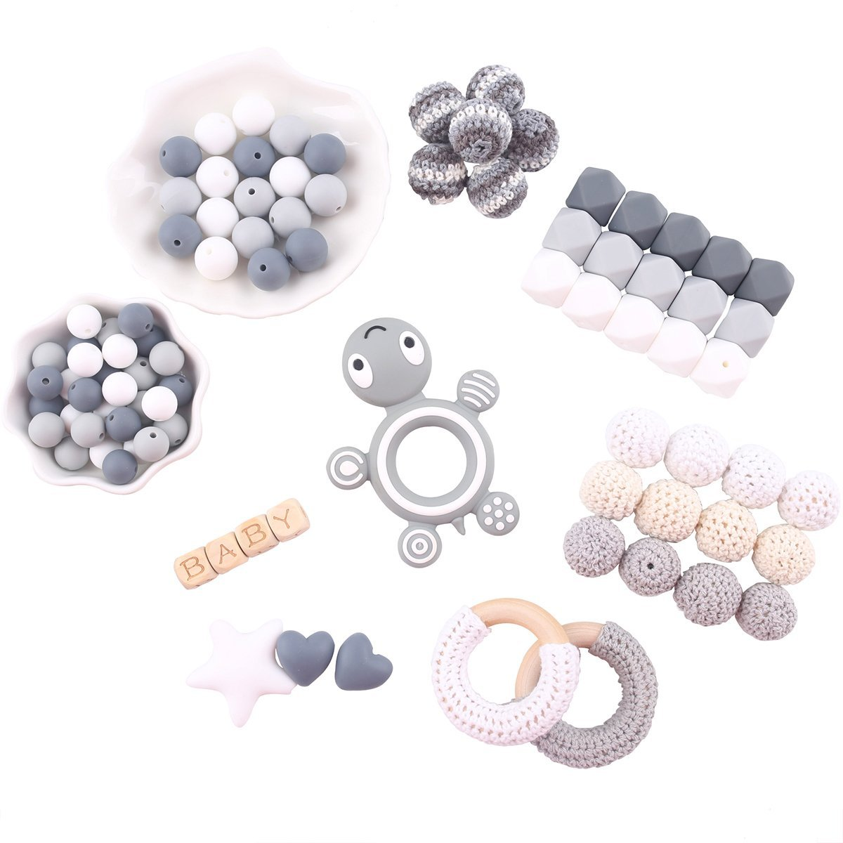 Baby Love Home Pacifier Clip Teething Beads Series Silicone Teether Beads BPA Free DIY Chewable Jewelry Nursing Necklace Accessories Grey Turtle Pendant Kit