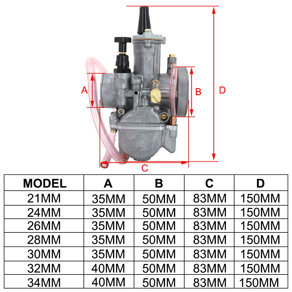 Fastpro Carburateur en Alliage daluminium pour Moto OKO 21 mm 28 mm 32 mm 24 mm 26 mm 30 mm 34 mm.