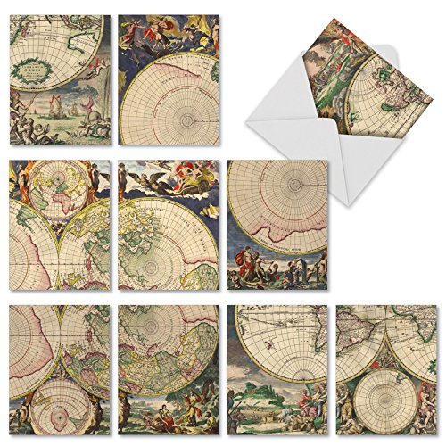 10 All-Occasion Note Cards with Envelopes 4 x 5.12 inch, Assorted 'Topographics' Greeting Cards Featuring Old World Maps, Blank Stationery for Weddings, Holidays, Thank Yous - NobleWorks M2341OCB