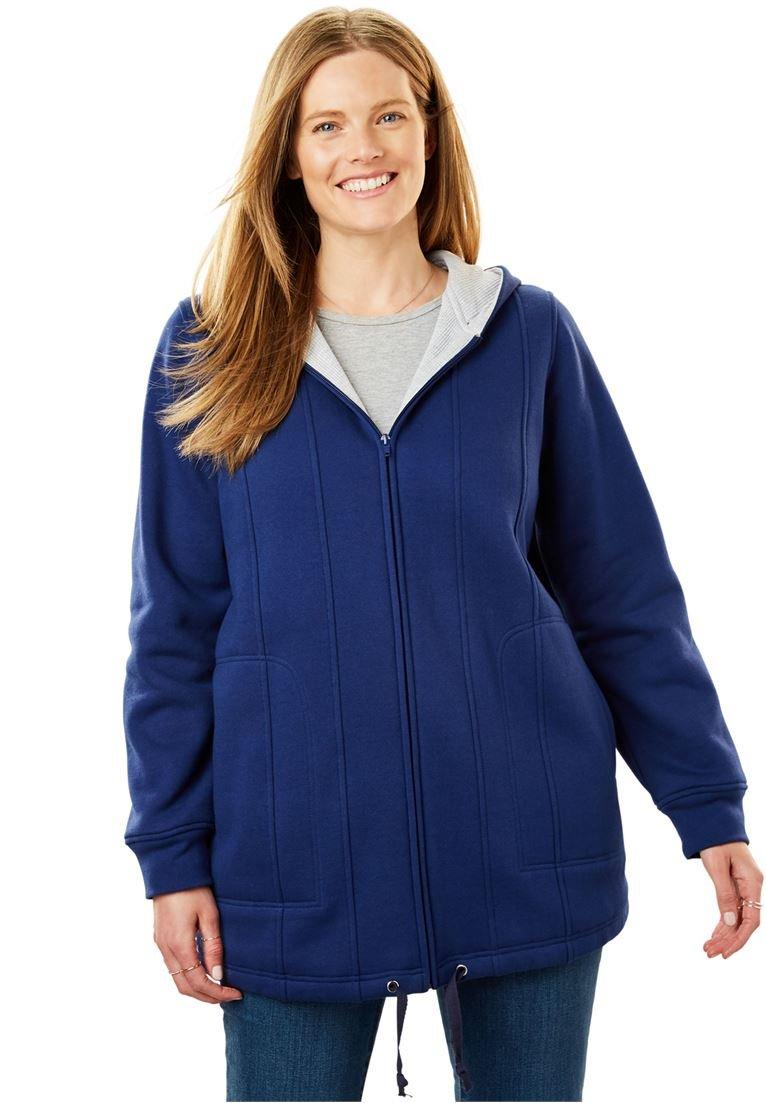 Women's Plus Size Drawstring-Hem Hooded Fleece Jacket