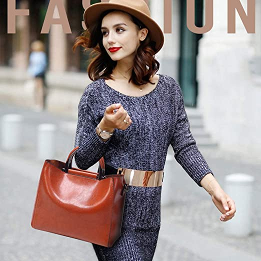 YJF New Vintage Leather Tote Shoulder Bag Women Crossbody Bags for Ladys Gift