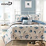mixinni Seashell Antique Chic Reversible 100% Cotton 3-Pieces Quilt Set(1 Quilt and 2 Shams) With Star Floral Bedspread Coverlet Set-Queen Size