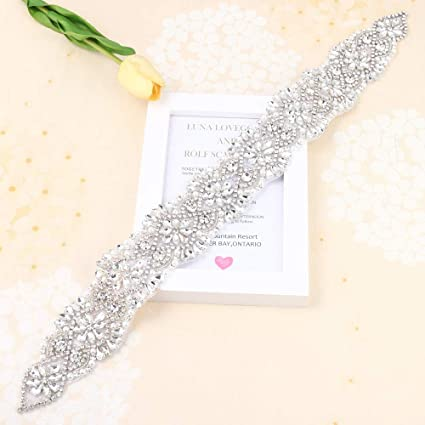 FANGZHIDI Rhinestone Applique Belt for Bridal Sash-Beaded Crystals and  Pearls-Hot Fix or 02d7d26839d0