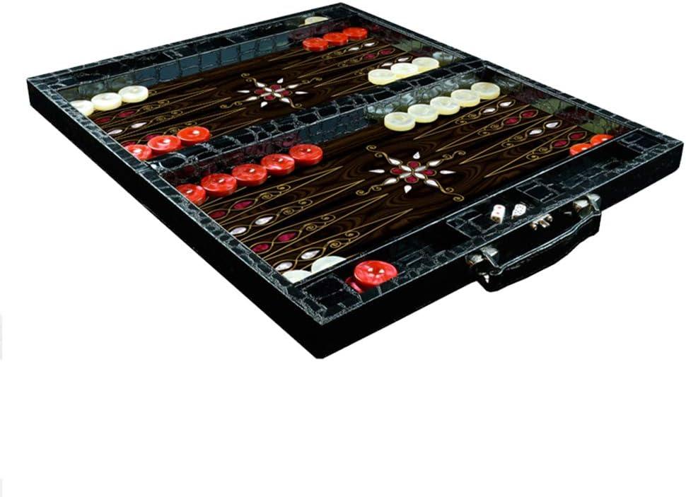 プレミアムレザー ハンドクラフト 19インチ Yenigun バックギャモンセット - クラシックボードゲームケース - Lサイズ - ブラック