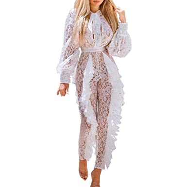 569bdd631fff Amazon.com  DOINSHOP White Jumpsuit Women Party Sexy Long Sleeve Tie Neck  Bandage Lace Fold Overalls  Clothing