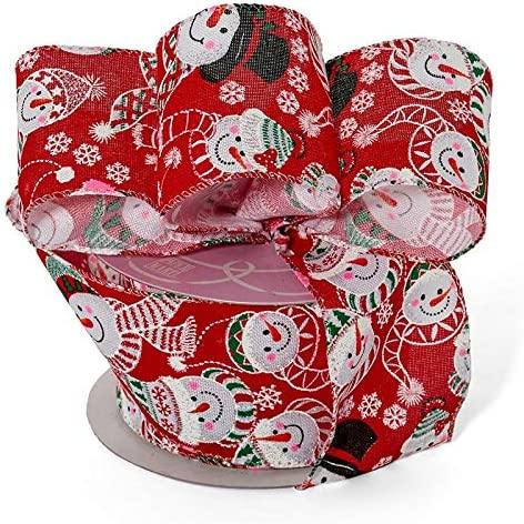 JOLLY SNOWMAN Festive Snowmen with Scarves Christmas Luxury Wire Edged Ribbon