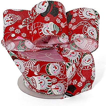 "5 Yd Christmas Snowman Friends Wired Ribbon 1 1//2/""W"