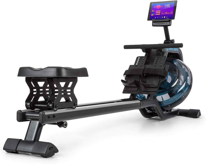 CapitalSports Flow M1 M2 Máquina de Remode Agua- Banco de Remo, 80 cm de Largo, 8Niveles/máx. 13/14 litros, Ordenador con Pantalla LCD, Soporte para tabletas, Aluminio y Acero