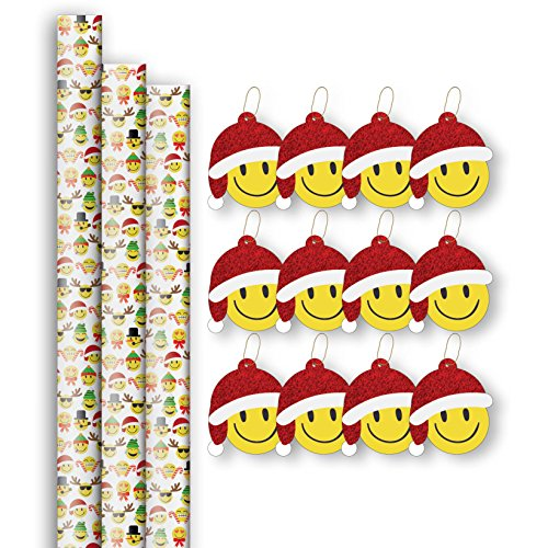 Jillson Roberts 3 Roll-Count Emoji Christmas Gift Wrap with 12 Gift Tags