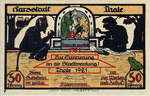 1921 DE RARE ANTISEMITIC BANKNOTE! DEVIL CONFERS w HUNCHBACK JEW 50 Pfennig Choice Crisp Uncircualted
