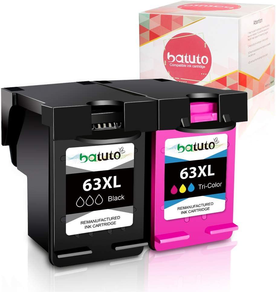 batuto Remanufactured for HP 63 63xl (1Black, 1Tri-Color ) Replacement Ink Cartridge 63 XL for HP OfficeJet 3830 4650 5255 4652 Envy 4520 4510 4512 4513 4516 Deskjet 1112 3634 3639 3632 2130 Printer
