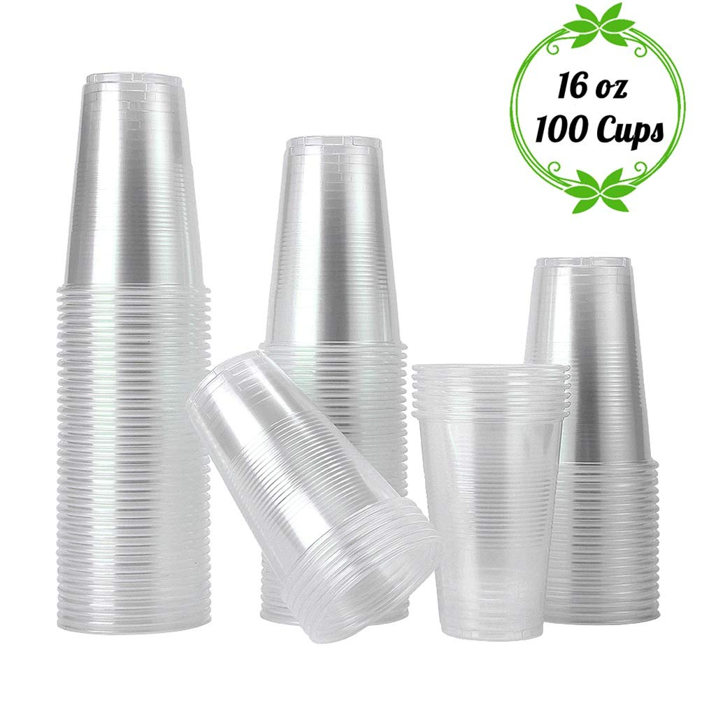 TashiLiving [ 16oz - 100 Cups ] Clear Plastic Coffee Cups, Disposable Transparent hot and Cold drink Cups for Water, Tea, Juice, Soda, Milk - BPA-Free