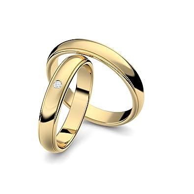 ea2c47bbfb Eheringe Trauringe Gold Set AMOONIC mit Zirkonia Freundschaftsringe  Paarpreis Verlobungsringe Partnerringe Silber hochwertig vergoldet Ringpaar  ...