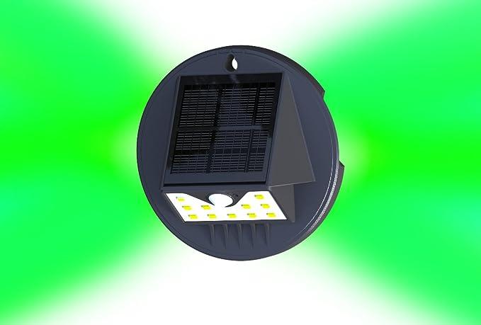 Solar Sensor de movimiento lámpara de pared con verde Ambiance paisaje luz de seguridad LED,