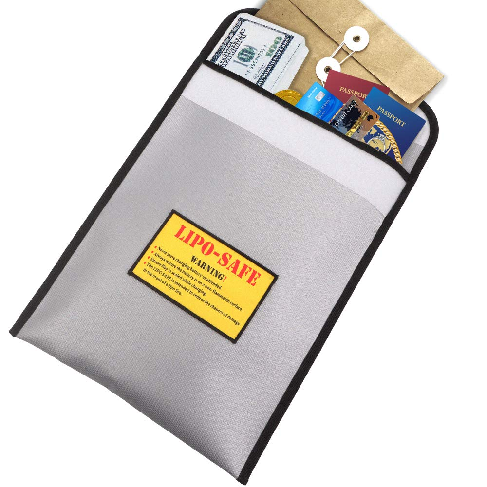 Fireproof Document Bag 15'' x 11'' Waterproof File Folders Fire Resistant Money Bag Double Layers Non-Itchy Silicone Coated Security Pouch Safe Storage for Documents, Cash, Home Valuables