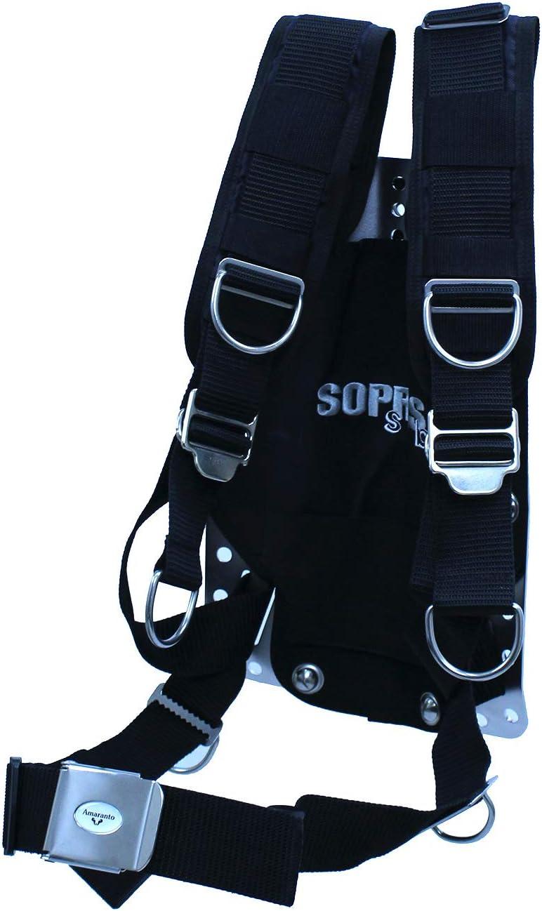 Sopras Sub デラックスハーネス ステンレススチールバックプレート Amaranto バックル 6 Dリング Scuba Tec ダイビング