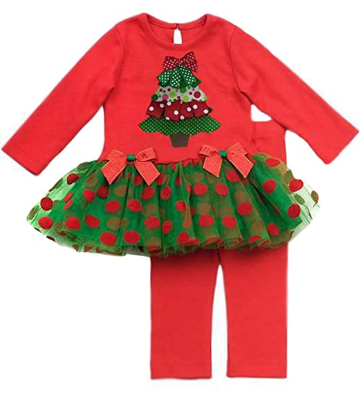 Rare Editions Girls Christmas Tree Holiday Dress Outfit Set w/ Leggings ,  Red , 5 - Amazon.com: Rare Editions Girls Christmas Tree Holiday Dress Outfit