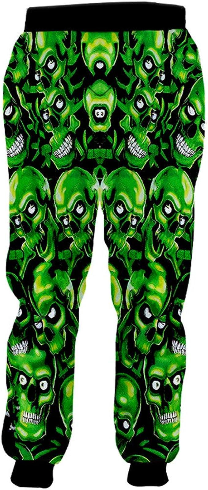 Pantalones de chándal de poliéster Hombre Hip Hop Cráneos Verdes ...