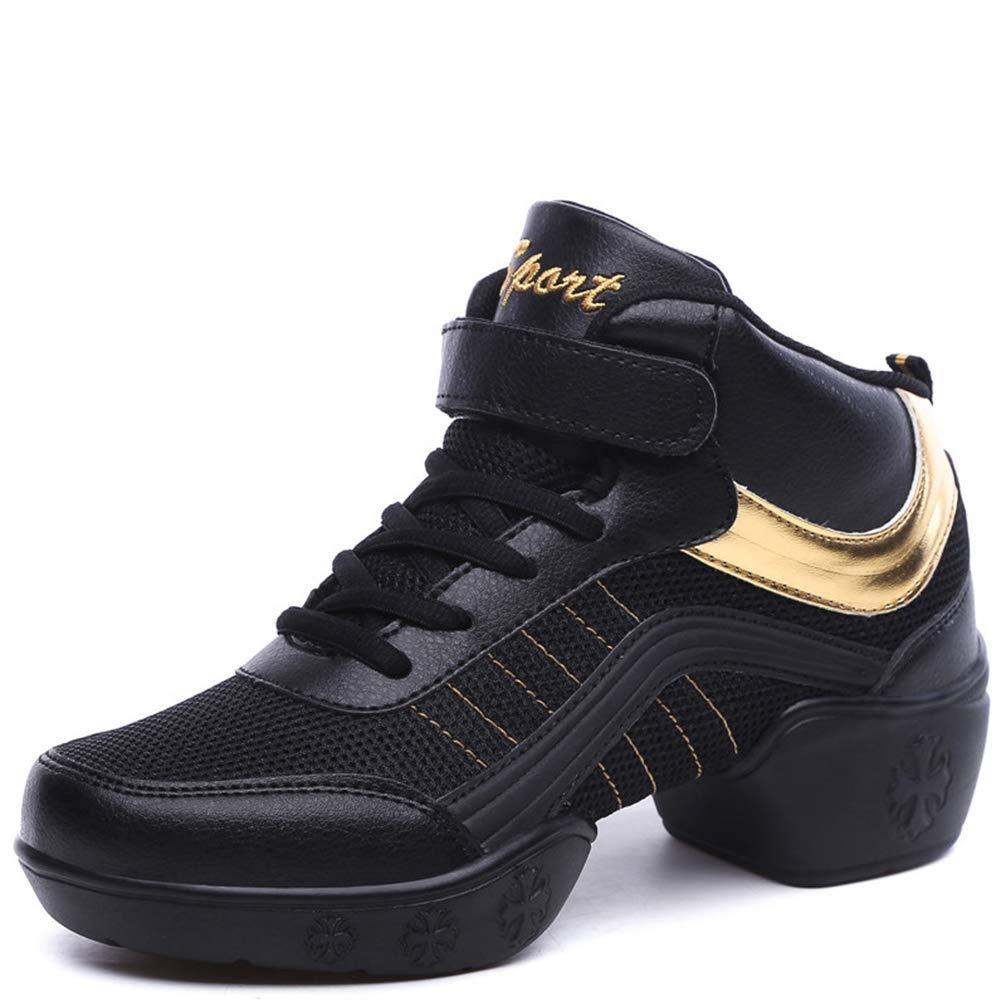 gold Gcanwea Women Casual Air Cushion Wedge Dance shoes Female Air Mesh Breathable Hook Loop Sneakers White 7 M US