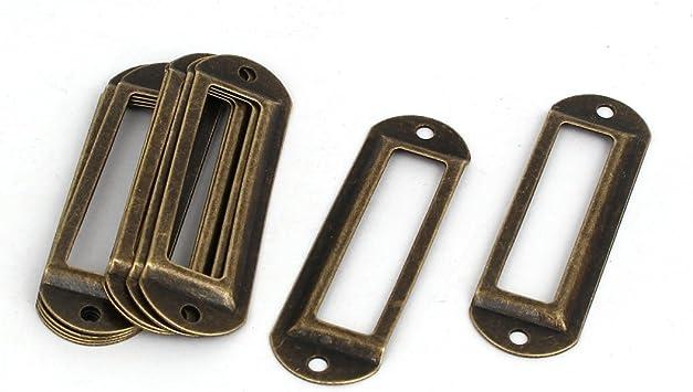 Drawer Box Case Cabinet Card Tag Label Holder Frame Bronze Tone 70mm x 21mm 6pcs