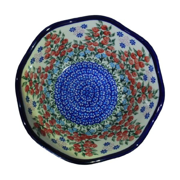 Polish Pottery Ceramika Boleslawiec 0423/282 Royal Blue Patterns 3-1/4-Cup Viki Bowl, Red Berries and Daisies